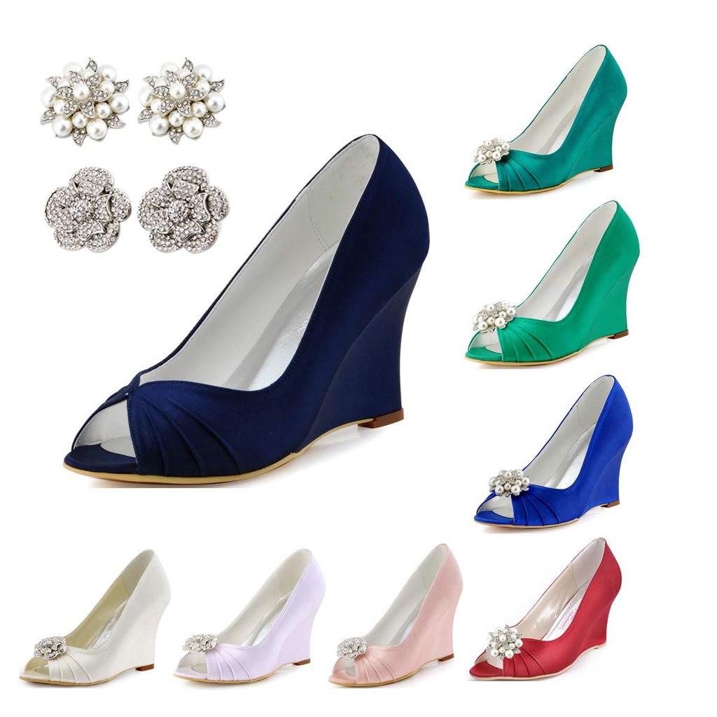 ElegantPark Women High Heel Pumps Peep Toe Satin Evening Prom Bridal Wedding Wedges