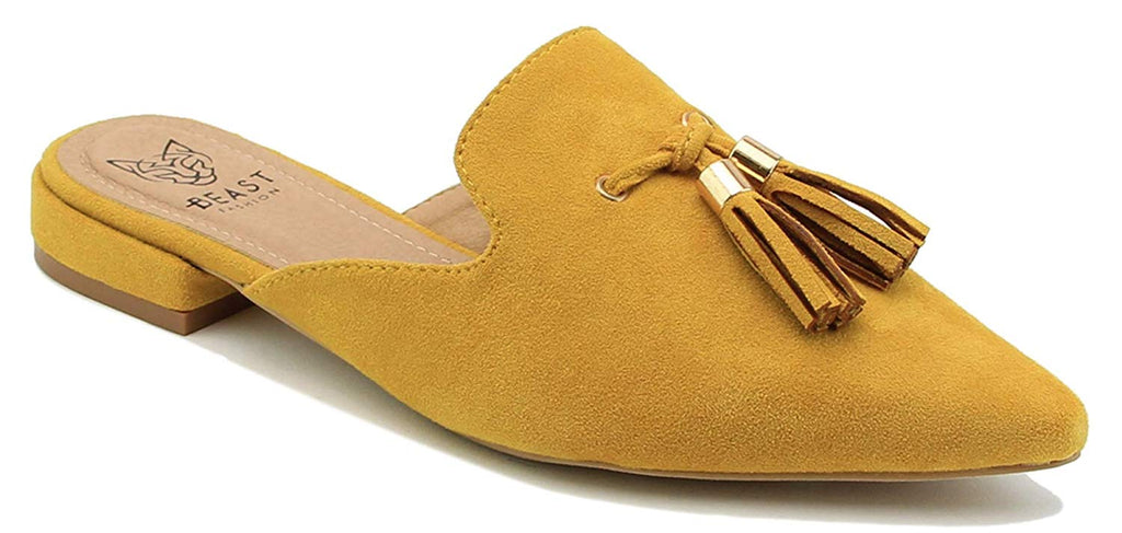 Beast Fashion Gem-01 Suede Pointed Toe Slip On Tassels Flat Loafer Mules