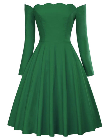 PAUL JONES Belle Poque Women's Off Shoulder Swing Dress Party Picnic Dress