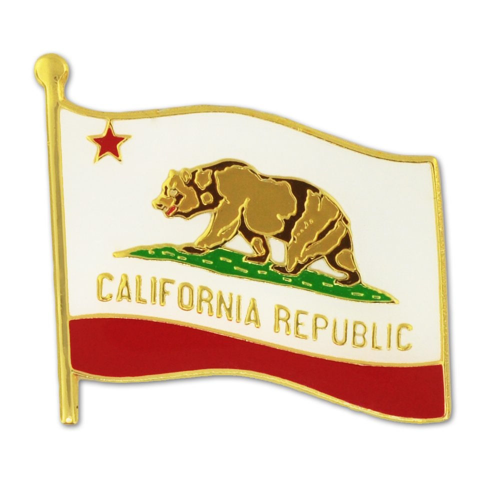 PinMart California US State Flag CA Enamel Lapel Pin 1""
