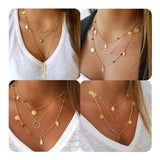 Multilayer Chain Pendant Layered Necklaces for Women Beads Leaf Jewelry 4Pcs