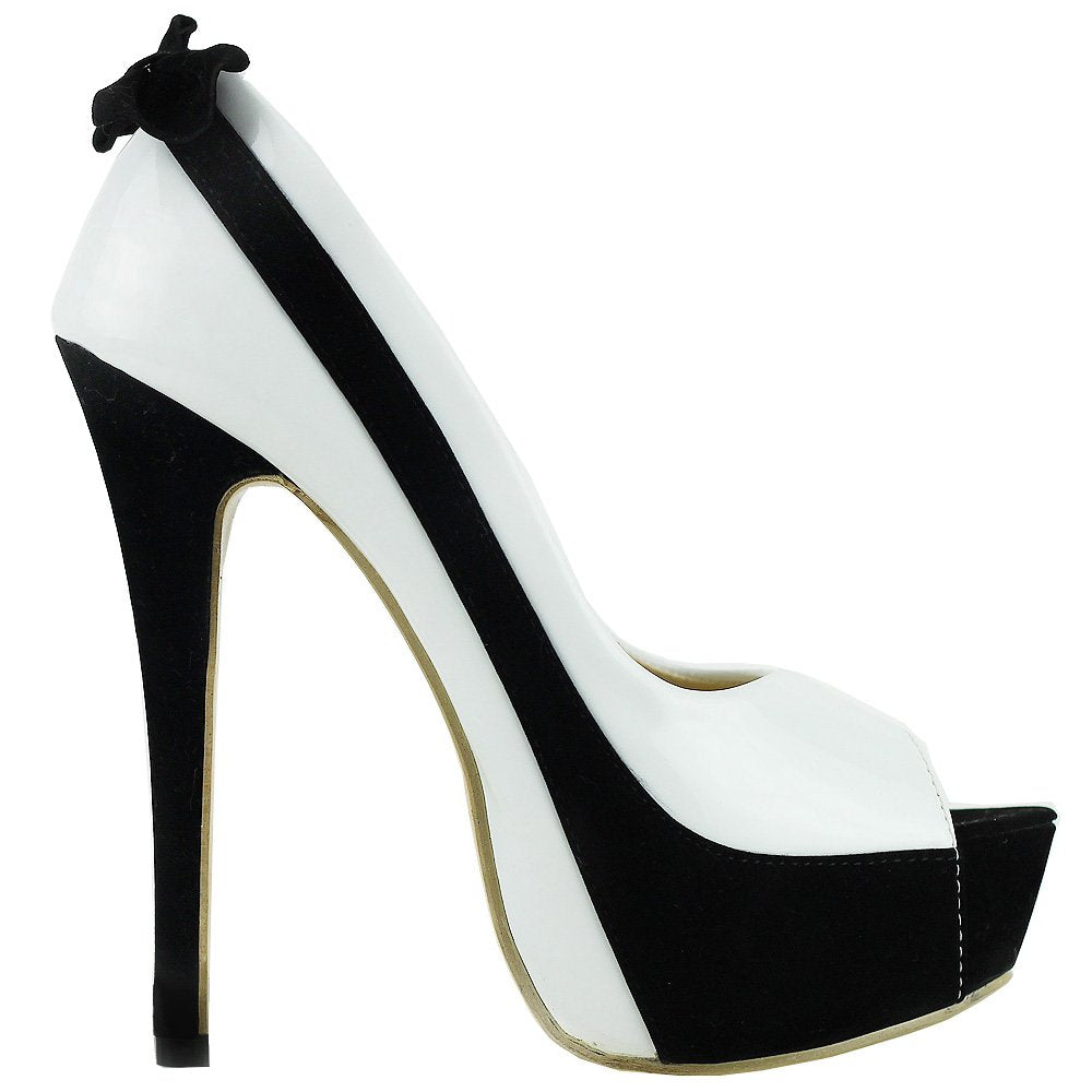 SHOW STORY Sexy Two Tone Peeptoe Bow Stiletto Platform High Heels Pumps,LF40501