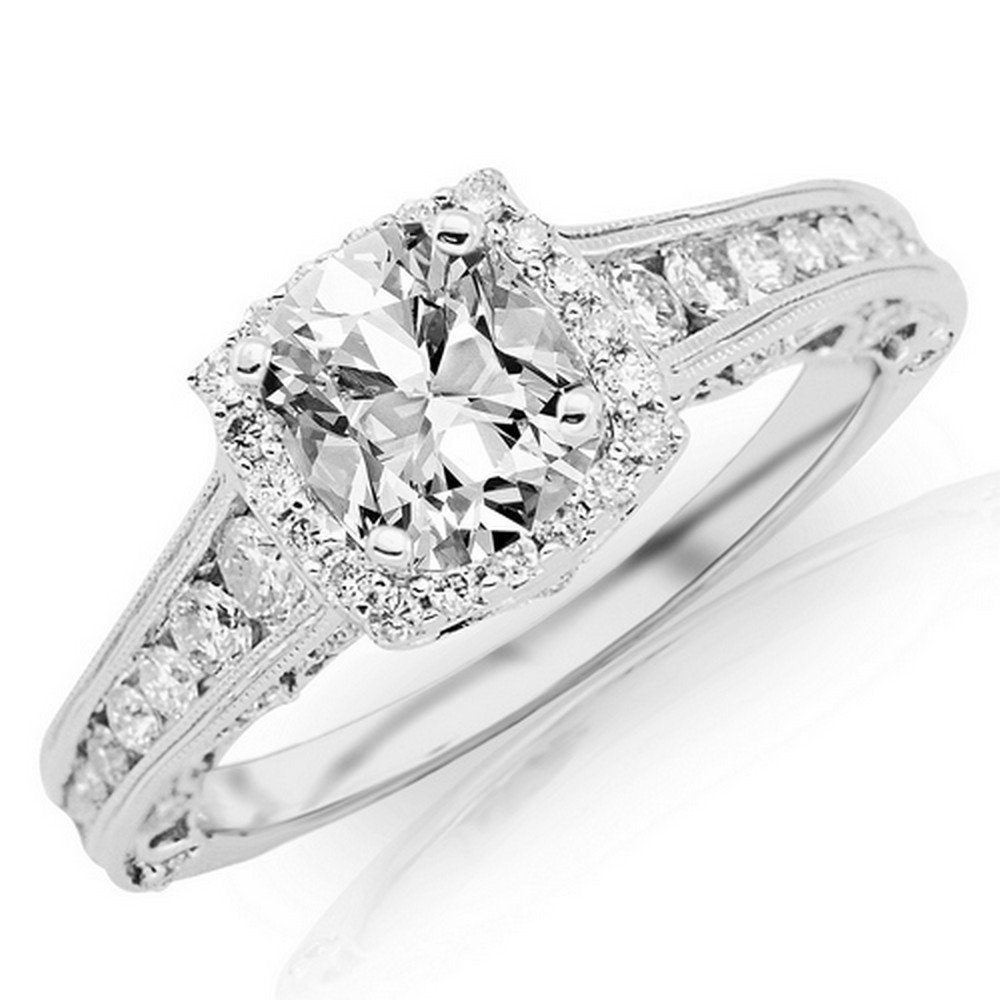 1.8 CTW GIA Certified 14K White Gold Vintage Halo Style Channel Set Round Brilliant Diamond Engagement Ring (1.05 Ct Milgrain E Color VVS2 Clarity Cus