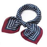 Silk Scarf Square Satin Headscarf Fashion Maze Neck Hair Scarves for Women Navy Blue