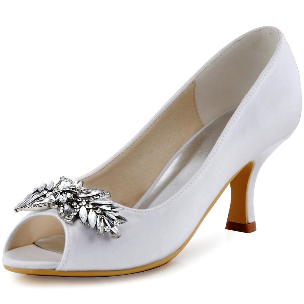 ElegantPark Women Peep Toe Pumps Leaf Rhinestones Comfort Heel Satin Wedding Bridal Dress Shoes