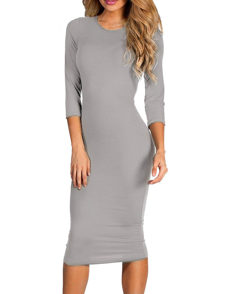 ICONOFLASH Women's 3/4 Sleeve Bodycon Midi Dress - XS to 3XL