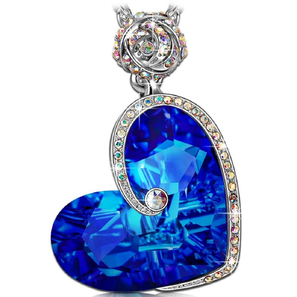 J.NINA Rose Heart Necklace with Bermuda Blue Crystals from Swarovski ♥Aphrodite♥ White-Gold Plated Valentines Jewelry Gifts for Women wi