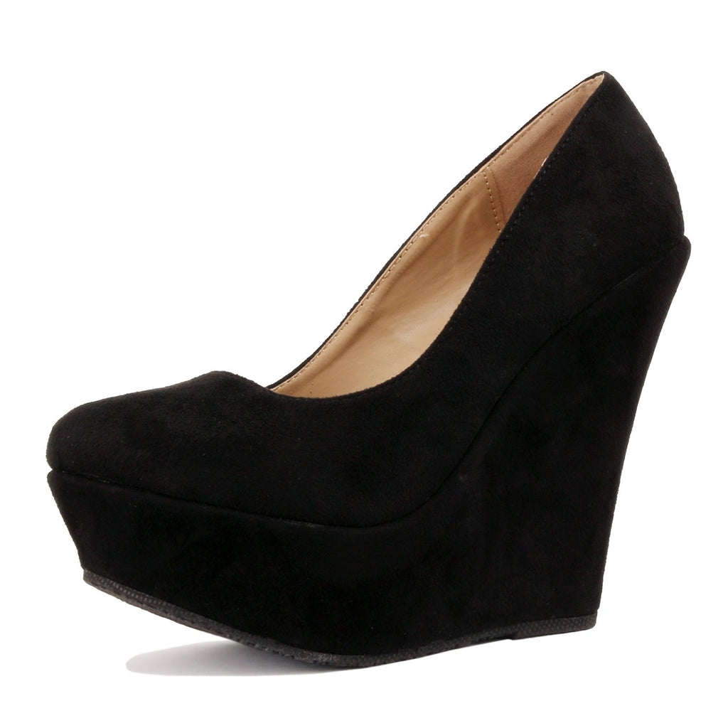 Delicacy Trendy-33 Slip On Platform High Heel Wedge Pump Shoes