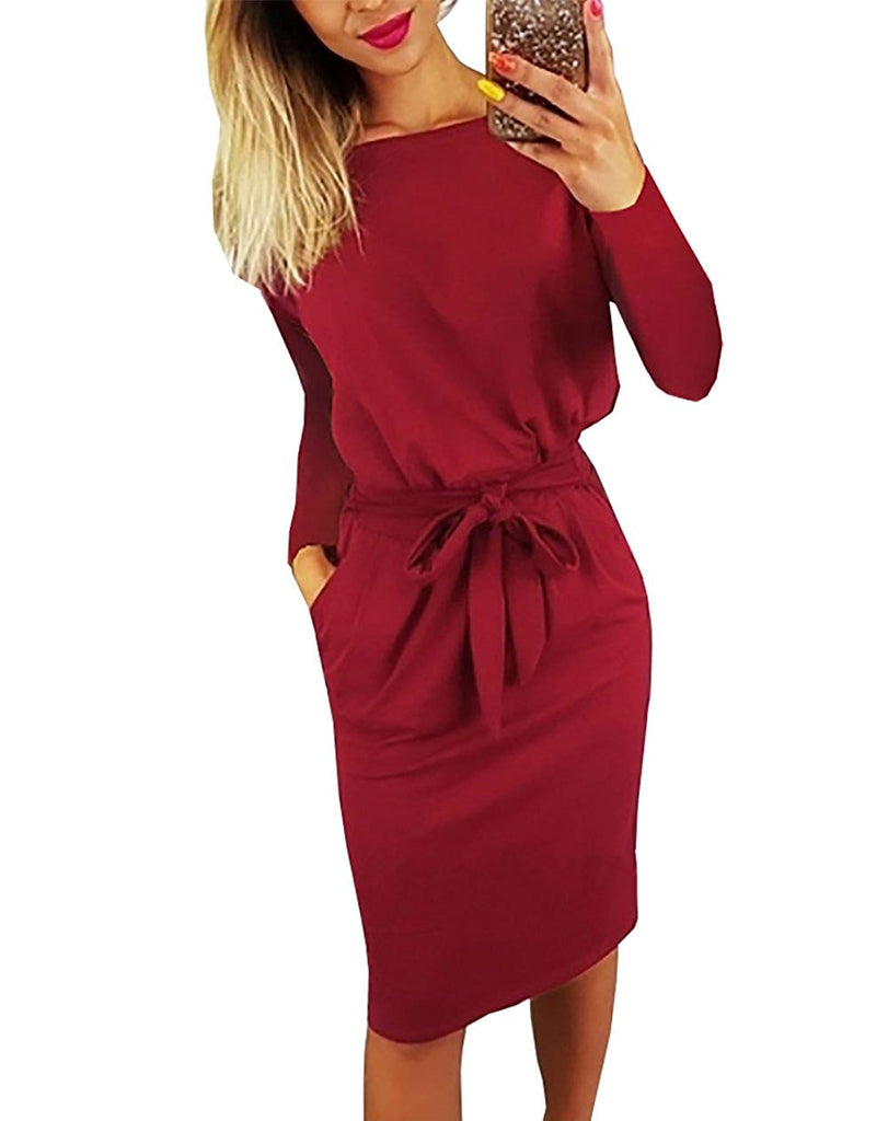 PRETTYGARDEN Women's 2018 Casual Short Sleeve Party Bodycon Sheath Belted Dress with Pockets