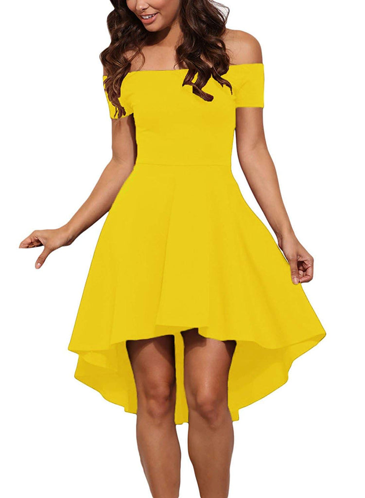Sidefeel Women Off The Shoulder Short Sleeve High Low Hem Club Cocktail Skater Dress