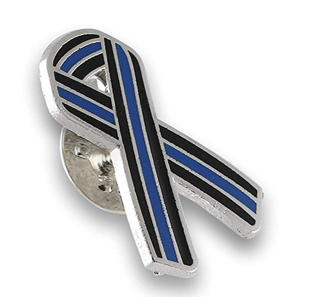 Forge Thin Blue Line Ribbon Police Support Enamel Lapel Pin