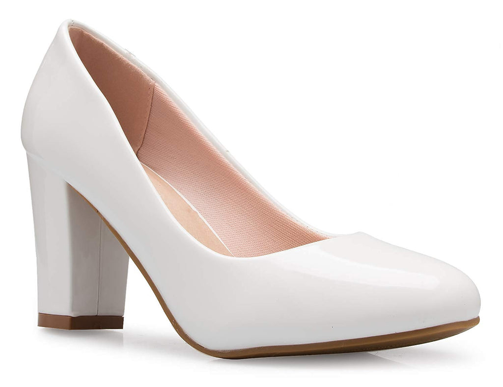 OLIVIA K Women's Classic Round-Toe Platform Pumps High Block Heel - Adorable, Comfortable
