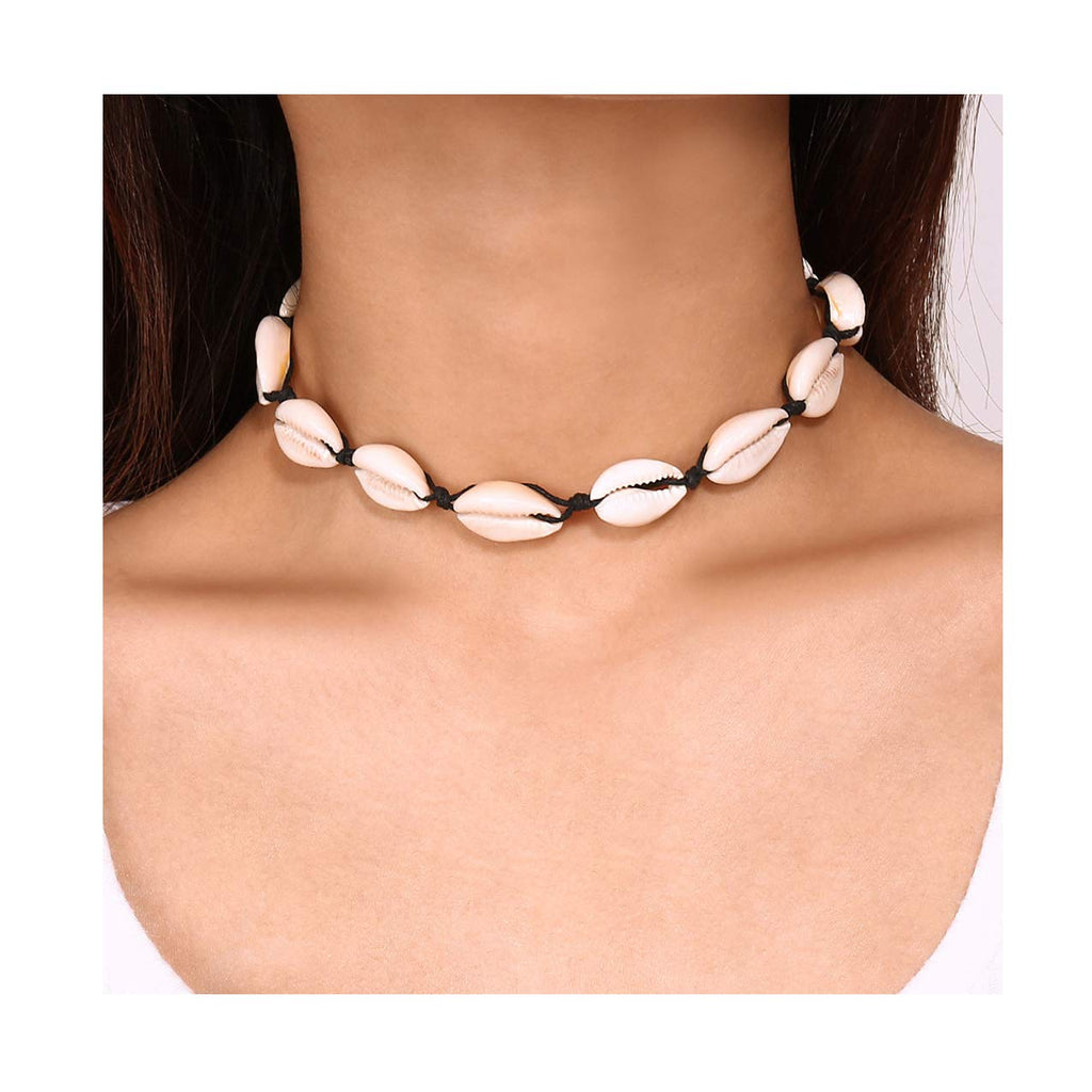 Edary Handmade Shells Choker Boho Clavicle Necklace for Women and Girls