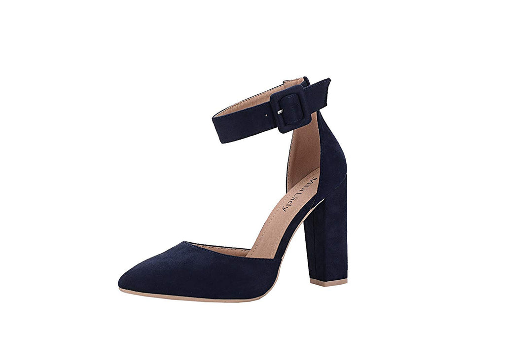 Mila Lady Beryl D'Orsay Classic Ankle Strap Elegance Pointed Toe Womens Block Chunky Heeled Sandals for Women