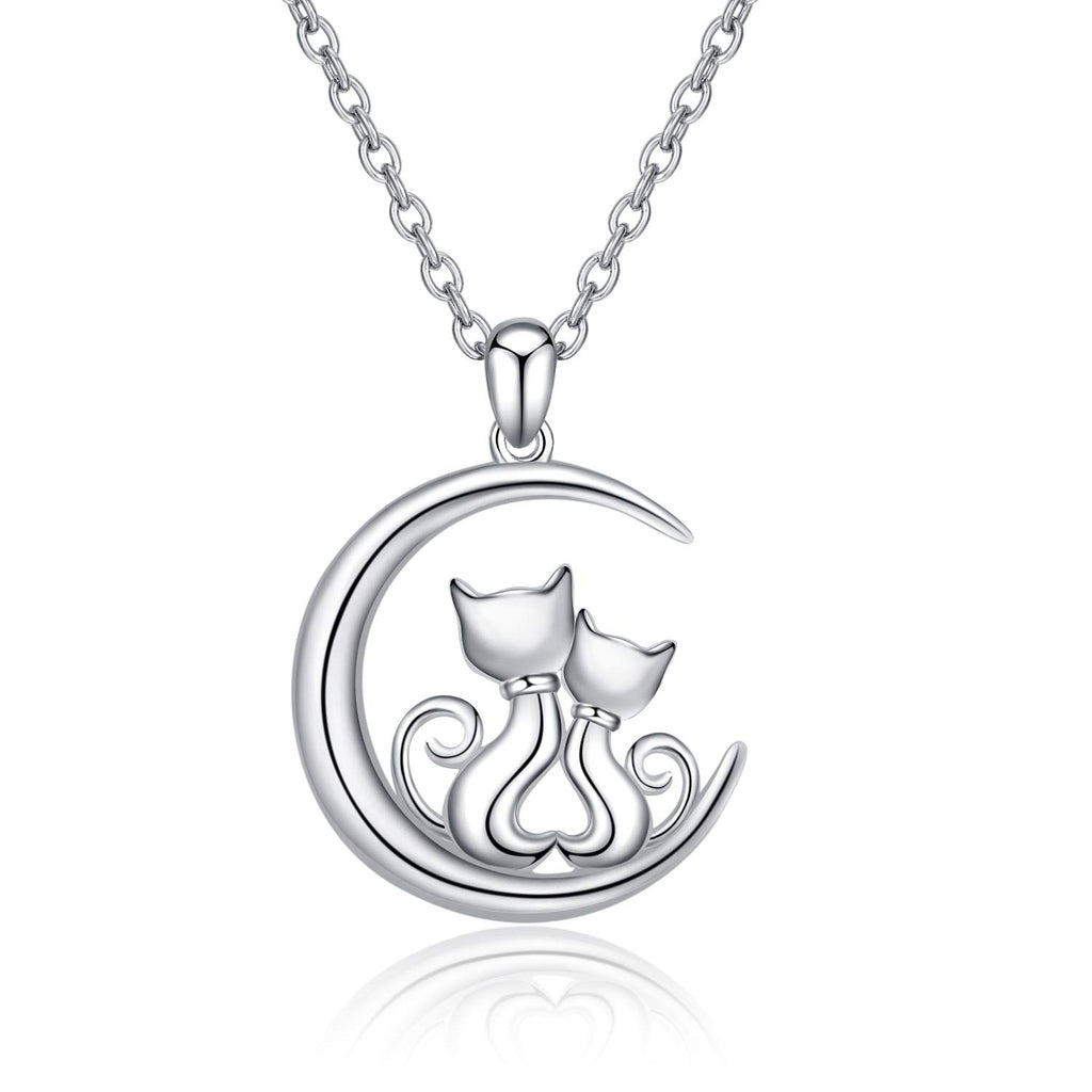 LUHE Cat Earrings,Cat Pendant Necklace,Cat Brooch,Cat Hoop Earrings, Sterling Silver Cute Hypoallergenic Double Cat Jewelry for Women Girls