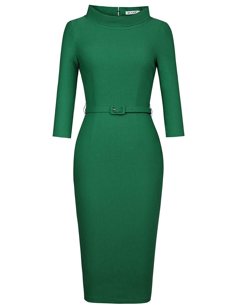 MUXXN Women's 1950s Vintage 3/4 Sleeve Elegant Collar Cocktail Evening Dress