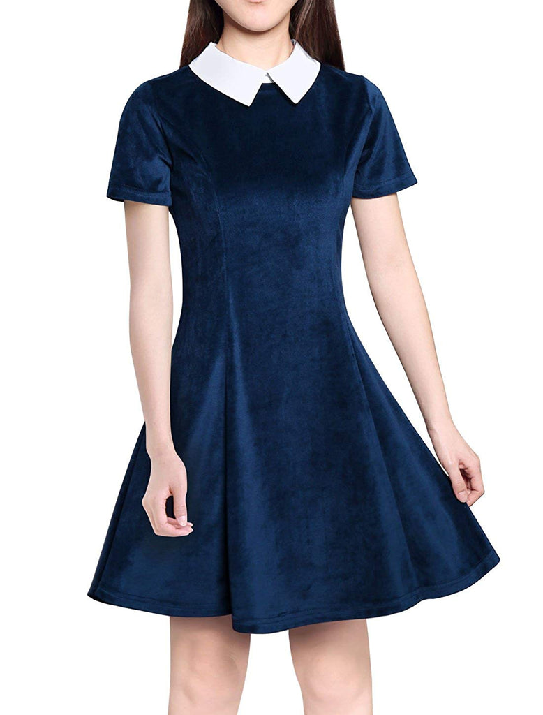 Allegra K Women's Contrast Doll Collar Short Sleeves Above Knee Flare Dress