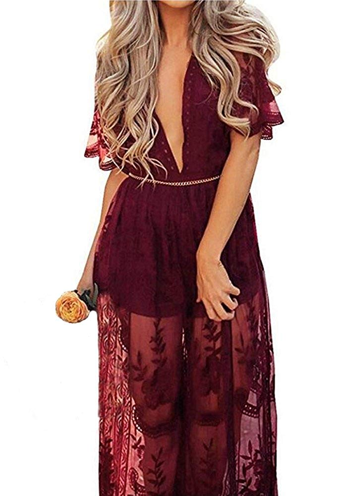 Wicky LS Women's Sexy Short Sleeve Long Dress Low V-Neck Lace Romper