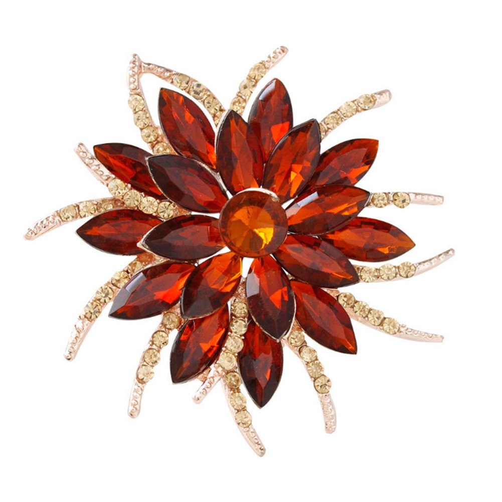 F&U Flower Brooch Pin Fashion Crystal Corsage for Women in Bouquet Wedding