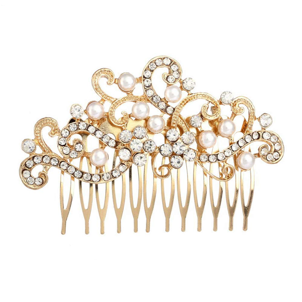 Missgrace Women Rose Gold Crystal Jewelry Comb Bridal Headpiece Hair Comb Bridal Crystal Decorative Headpiece (Rose gold)