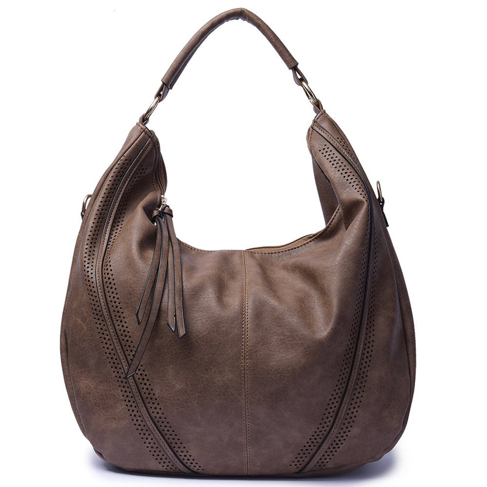 Mn&Sue Women Hobo Shoulder Bag PU Leather Top Handle Satchel Large Work Totes Fashion Handbags and Purses