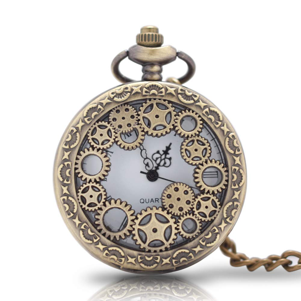 1 x Vintage Pocket Watch with Chains Necklace£¬Steampunk Gear Hollow Quartz Pocket Watches for Men Women Xmas Birthday Gift Present