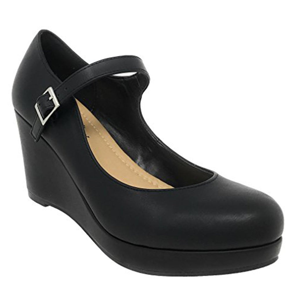 City Classified Womens Mark Thomas Mary Jane Strap Comfortable Office Dress Platform Wedge Heel MVE Shoes,