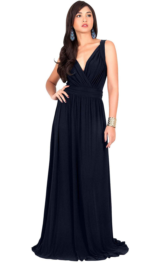 KOH KOH Womens Long Sleeveless Flowy Bridesmaid Cocktail Evening Gown Maxi Dress
