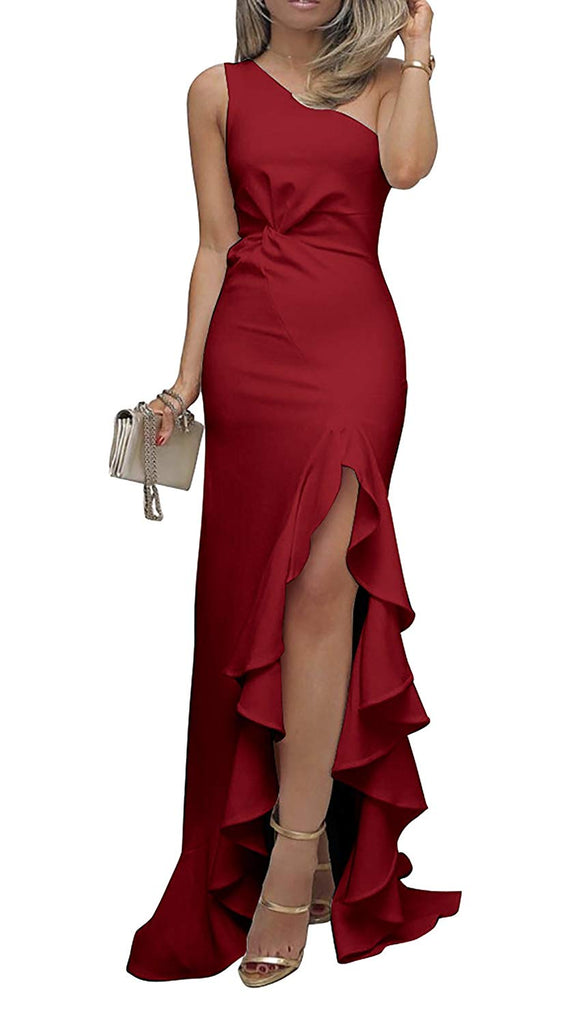 BTFBM 2018 Women's One Shoulder Split Bodycon Mermaid Evening Cocktail Long Dress