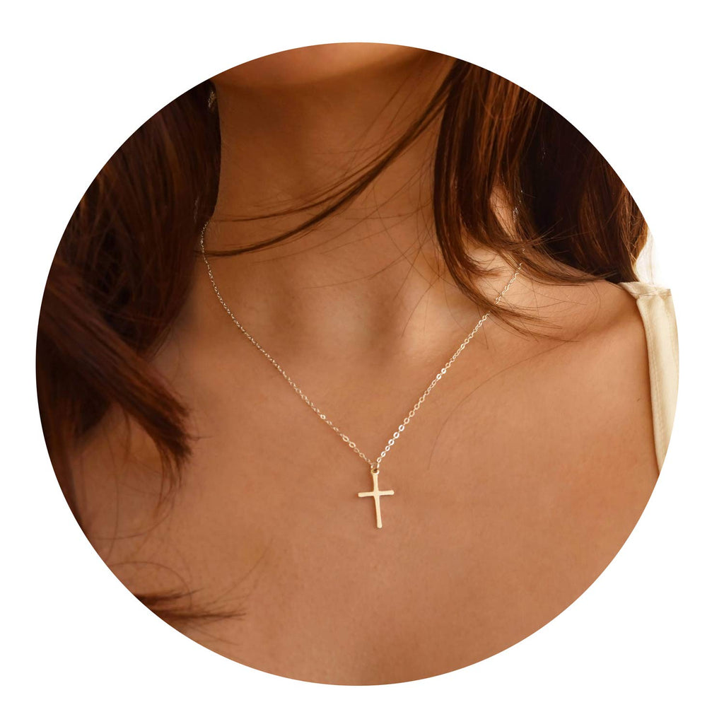Befettly Tiny Cross Necklace Pendant Women Simple Bar Triangle 14k Gold Filled Polished Feather Crucifix Y Necklace