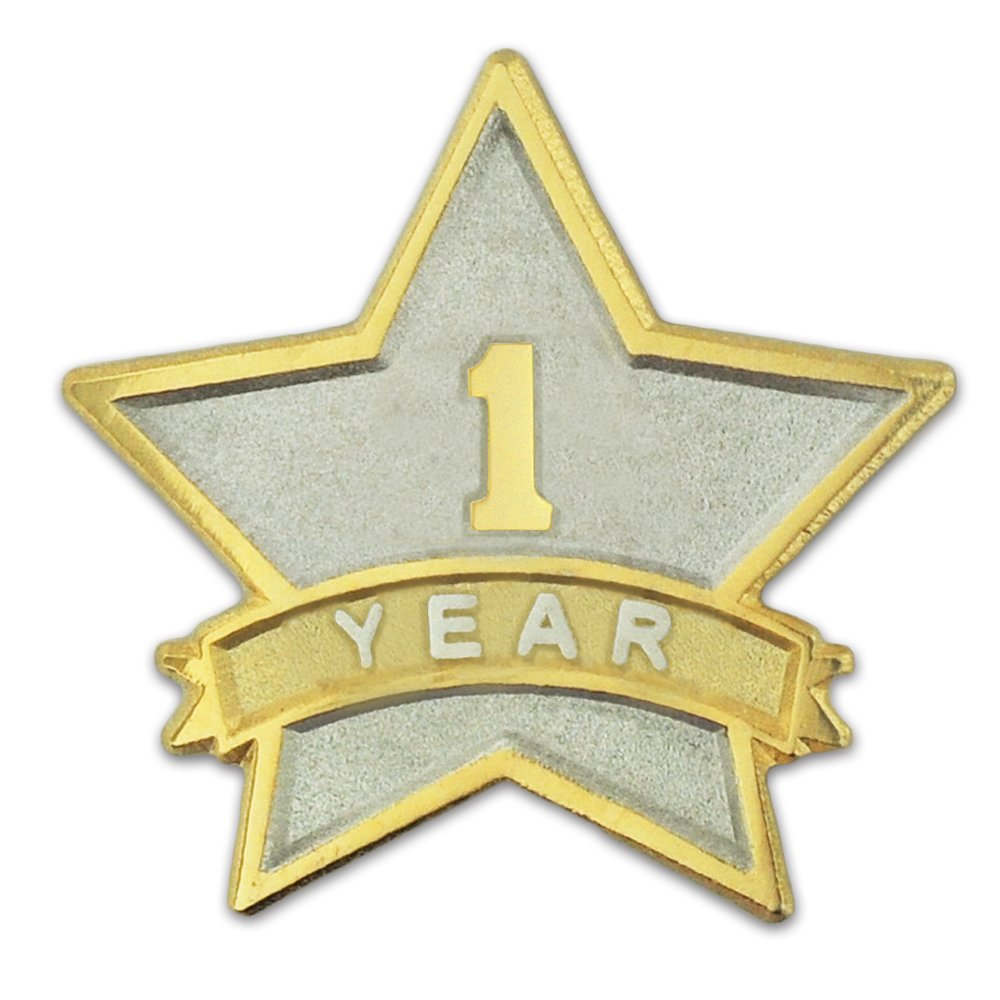 PinMart 1 Year Service Award Star Corporate Recognition Dual Plated Lapel Pin