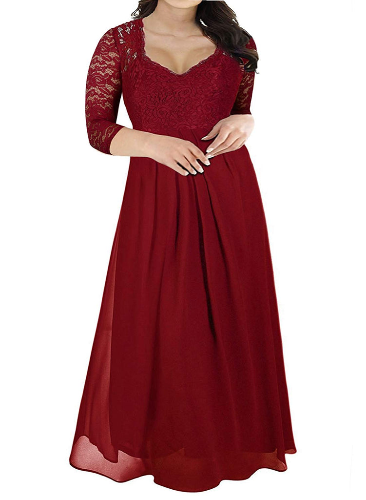 Nemidor Women's Deep- V Neck Sleeveless Vintage Plus Size Bridesmaid Formal Maxi Dress