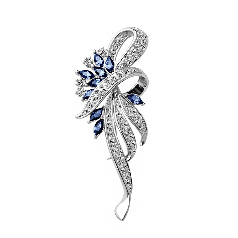 Merdia Created Crystal Fancy Vintage Style Brooch Pin for Women, Girls, Ladies Blue Color