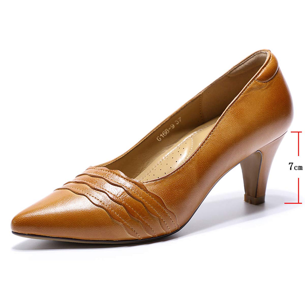 Mona flying Womens Leather Pumps Dress Shoes Med Heel Pointed Toe High Heels for Women Office Wedding