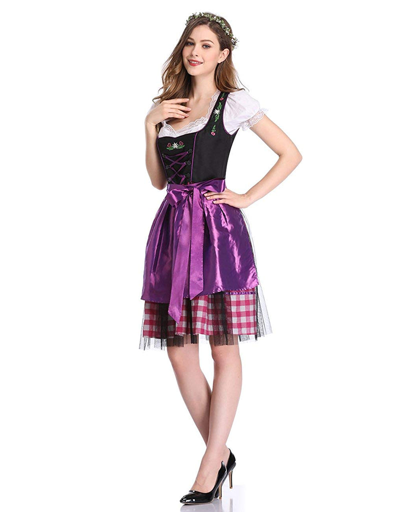 Clearlove Women German Dirndl Dress Costumes for Bavarian Oktoberfest Halloween Carnival