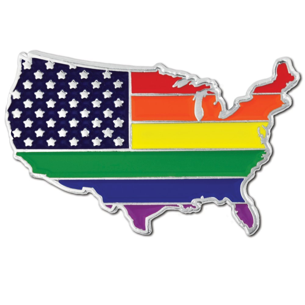 PinMart Gay Pride USA Shape Flag LGBT Enamel Lapel Pin