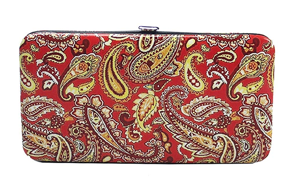 Chicastic Glossy Snakeskin Texture Faux Patent Leather Flat Hard Clutch Wallet