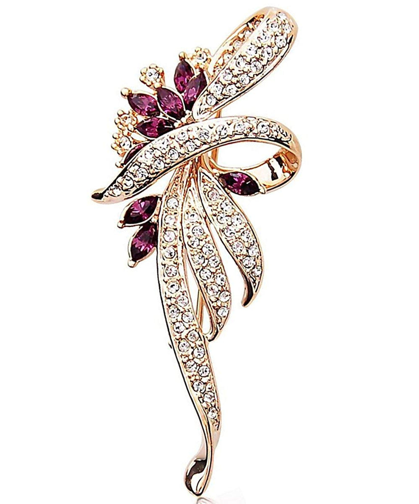Merdia Fancy Vintage Style Brooch Pin Created Crystals Brooch for Women with Purple Created Crystal