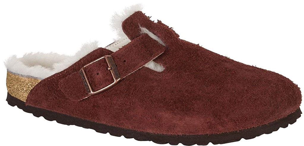 Birkenstock Womens Boston Shearling Leather Closed Toe Casual Slide Sandals