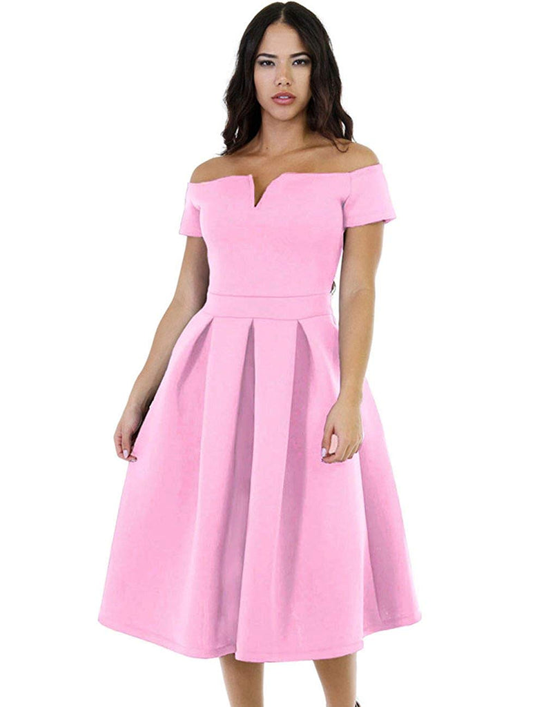 Lalagen Women's Vintage 1950s Party Cocktail Wedding Swing Midi Dress