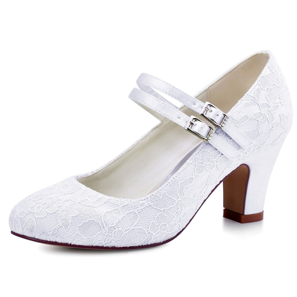 ElegantPark HC1708 Women Mary Jane Block Heel Pumps Closed Toe Lace Bridal Wedding Shoes