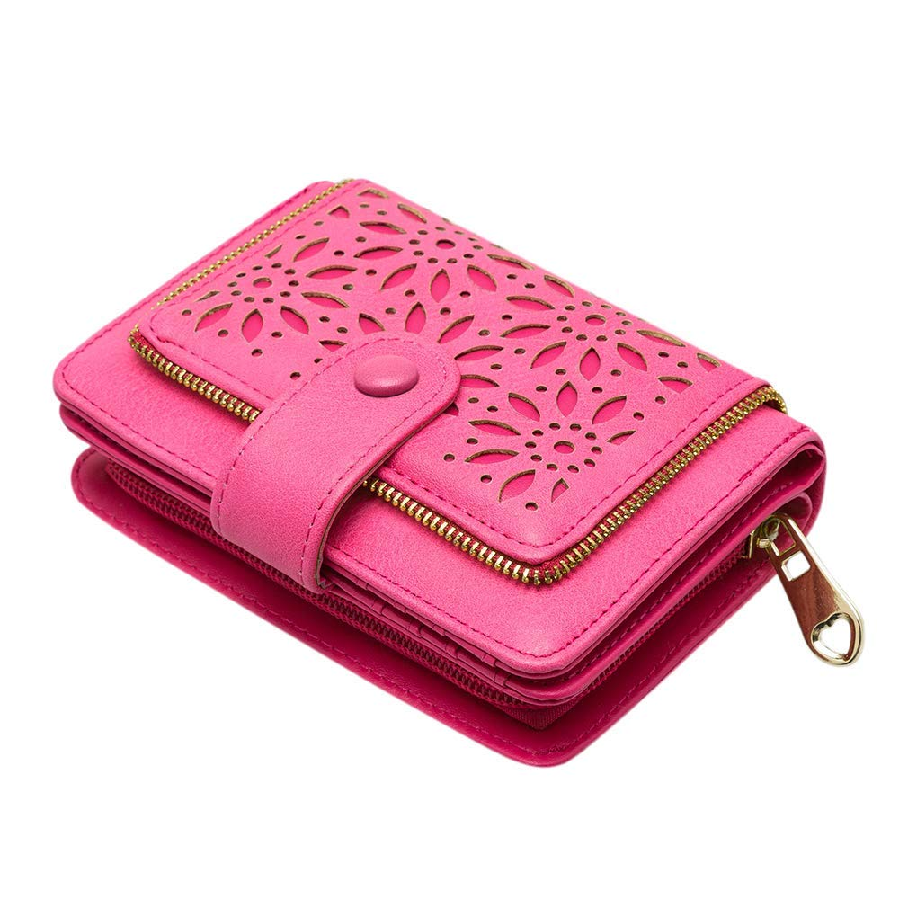 Faux Leather Vintage Hollow Bifold RFID Blocking Wallet Women Short Credit Card Holder