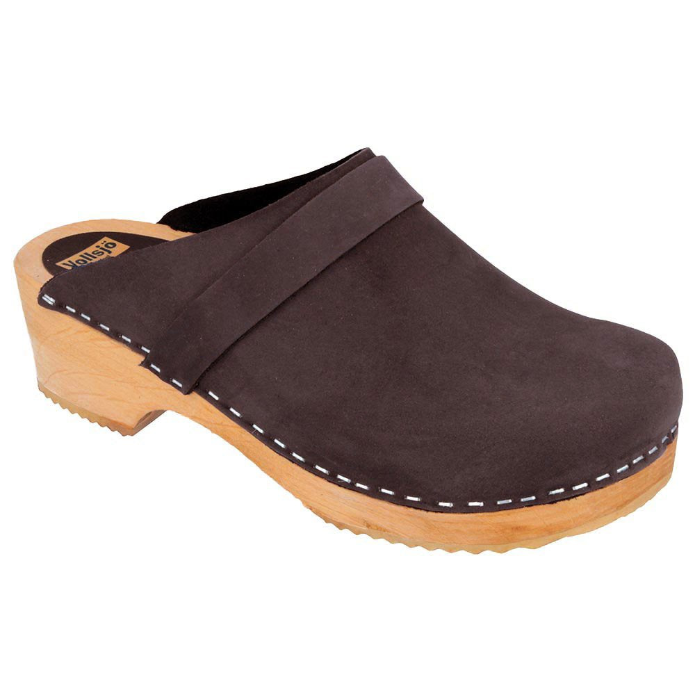 Vollsjö women's genuine leather wooden clogs Made in EU