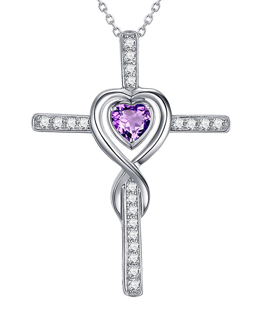 March Birthstone Aquamarine Sterling Silver Jewelry Birthday Gifts for Women Love Infinity Cross Amethyst Swarovski Necklace