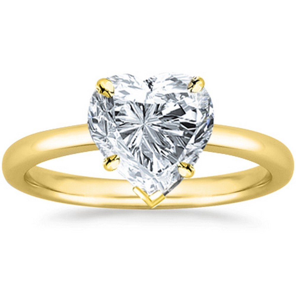 1/2 Carat GIA Certified 14K White Gold Solitaire Heart Cut Diamond Engagement Ring (0.5 Ct F-G Color, I1 Clarity)
