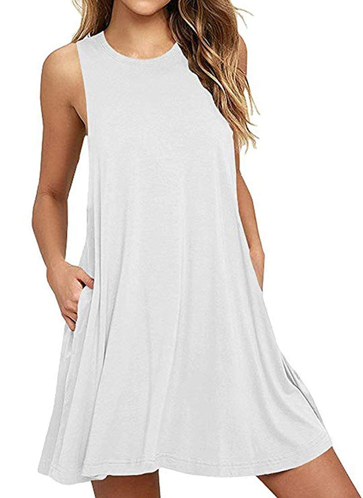 Muhadrs Women's Long Sleeve/Sleeveless Casual Loose Swing T-Shirt Dress