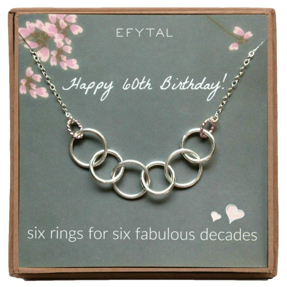 EFYTAL Happy 60th Birthday Gifts for Women Necklace, Sterling Silver 6 Rings six Decades Necklaces Gift Ideas