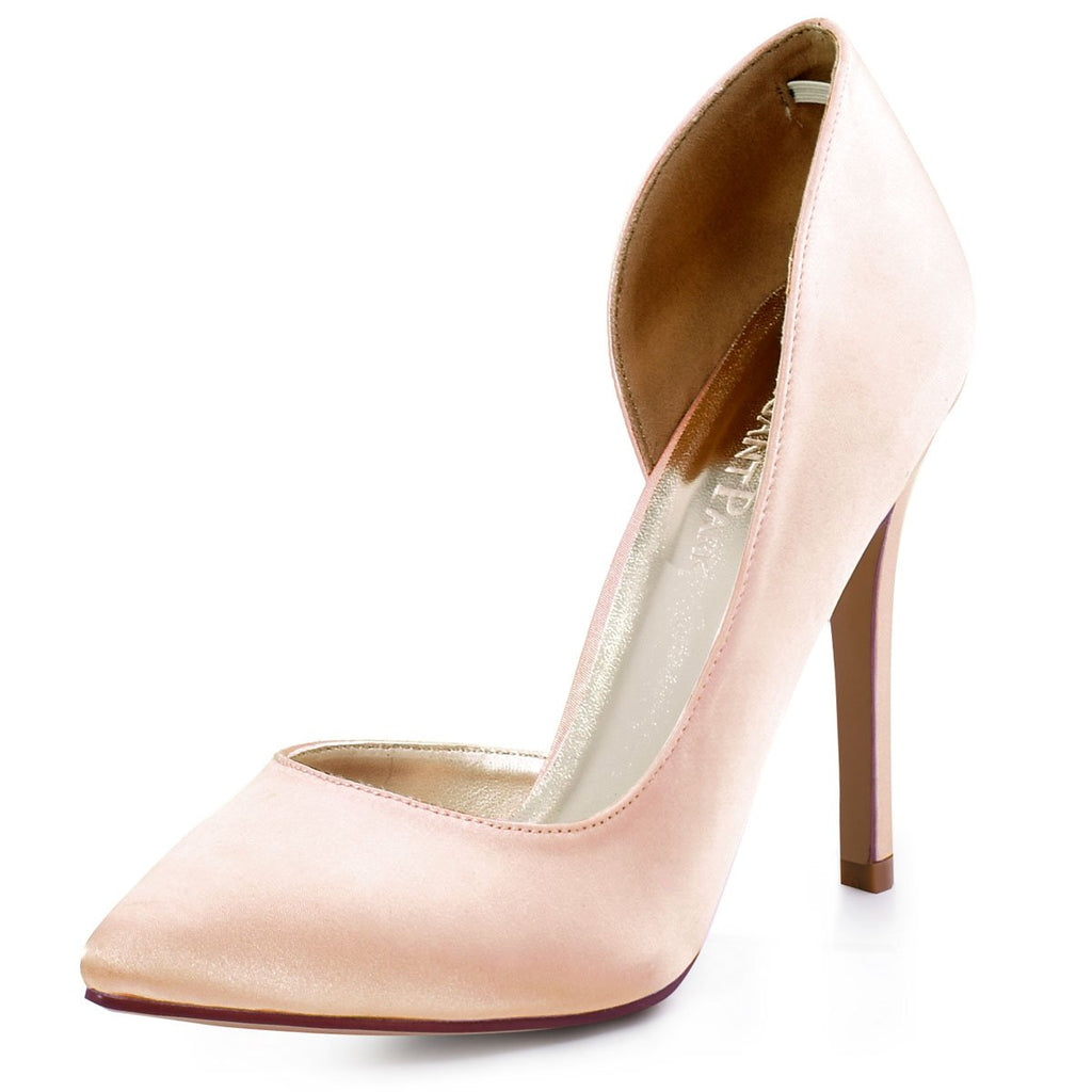ElegantPark Women's Pointed Toe High Heel D'Orsay Satin Dress Pumps