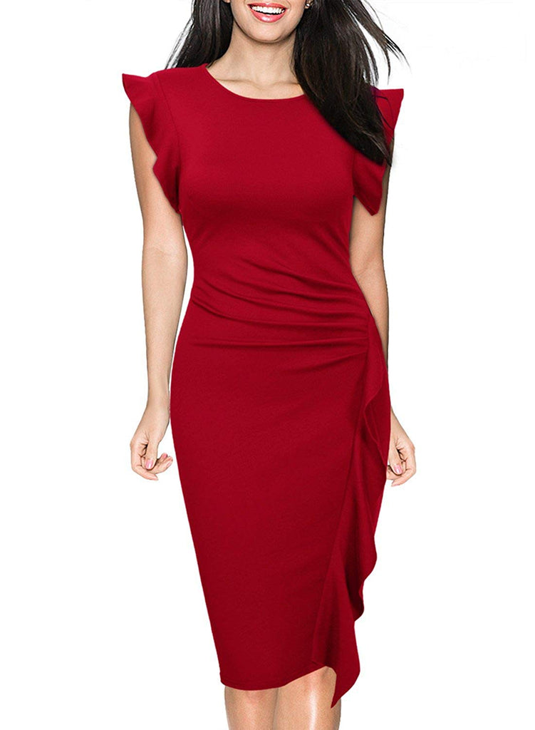 Miusol Women's Business Retro Ruffles Slim Cocktail Pencil Dress