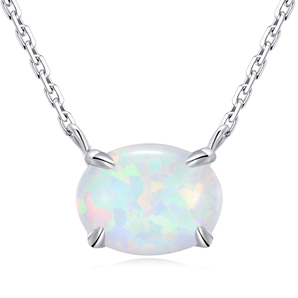 Ellena Rose Sterling Silver Opal Necklace, 925 Sterling Silver, Small Dainty Oval Opal Jewelry for Women, Gemstone Necklaces, Womens Jewelry, Simple R